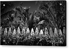 Acrylic Print featuring the photograph Surf Board Fence Maui Hawaii Black And White by Edward Fielding