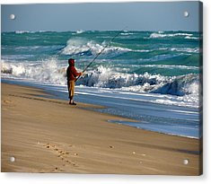 Surf Fishin' The Cold Atlantic Acrylic Print