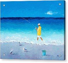 Surf Fishing Acrylic Print by Jan Matson