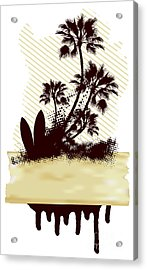 Surf Grunge Dirty Scene With Palms And Acrylic Print
