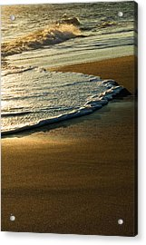 Surf On Sandy Beach, Sunrise Light Acrylic Print by Panoramic Images