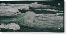 Surf On The Beach, Cape Kiwanda State Acrylic Print by Panoramic Images