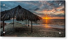 Surf Shack At Sunset - Wide Format Acrylic Print by Peter Tellone