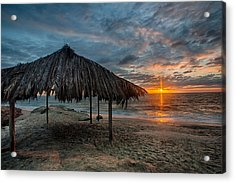 Surf Shack Sunset Acrylic Print by Peter Tellone