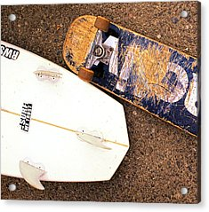 Surf Skate Fins And Wheels Acrylic Print by Ron Regalado