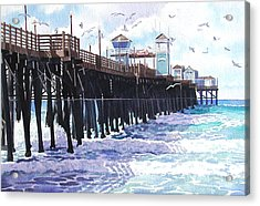 Surf View Oceanside Pier California Acrylic Print by Mary Helmreich