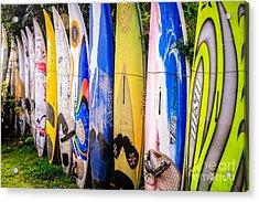 Surfboard Fence Maui Hawaii Acrylic Print by Edward Fielding