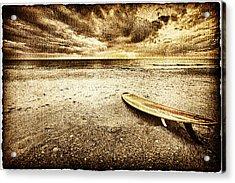 Surfboard On The Beach 2 Acrylic Print by Skip Nall