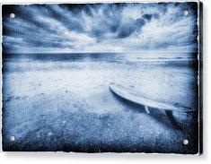 Surfboard On The Beach Acrylic Print by Skip Nall