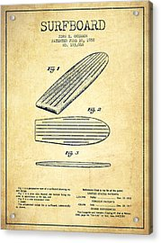 Surfboard Patent Drawing From 1958 - Vintage Acrylic Print