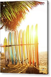 Surfboards At Ocean Beach Acrylic Print by Arand