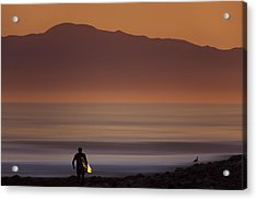 Acrylic Print featuring the photograph Surfer Approaching Rincon Mg_9505 by David Orias