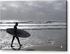 Acrylic Print featuring the digital art Surfer At Dusk by Dawn Romine