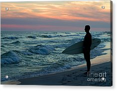 Surfer At Sunset Acrylic Print