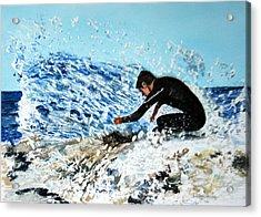 Surfer Acrylic Print by Betty-Anne McDonald