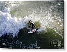 Surfer Boy Riding A Wave Acrylic Print by Catherine Sherman