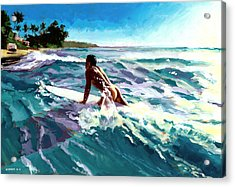Surfer Coming In Acrylic Print by Douglas Simonson