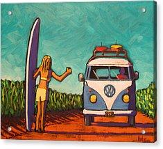 Surfer Girl And Vw Bus Acrylic Print