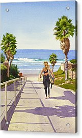 Surfer Girl At Fletcher Cove Acrylic Print by Mary Helmreich