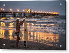 Acrylic Print featuring the photograph Surfer Girl At Oceanside Pier 1 by Lee Kirchhevel