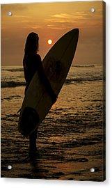 Surfer Girl Sunset Silhouette Acrylic Print