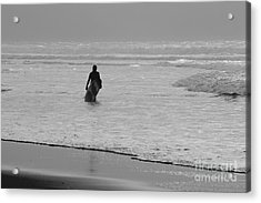 Surfer In The Mist Acrylic Print by Terri Waters