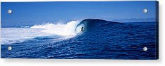 Surfer In The Sea, Tahiti, French Acrylic Print