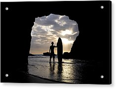 Surfer Inside A Cave At Muriwai New Acrylic Print