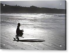 Surfer Meditating On Beach, Cox Bay Acrylic Print