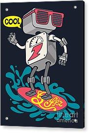 Surfer Robot Vector Design For Tee Acrylic Print
