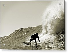 Acrylic Print featuring the photograph Surfer Sepia Silhouette by Paul Topp