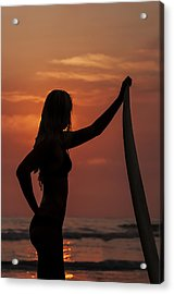 Surfer Sunset Silhouette Acrylic Print