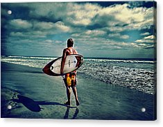 Surfer Walking The Beach Acrylic Print by James David Phenicie