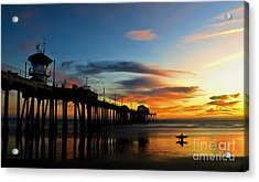 Surfer Watching The Sunset Acrylic Print