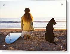 Surfer Woman And Dog On Beach Acrylic Print