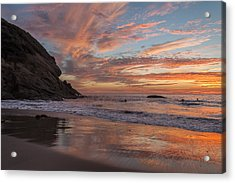 Surfers And Sunset At Strands Beach Dana Point Acrylic Print