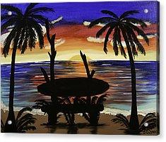 Surfers Bench Acrylic Print by Donna Guzman