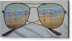 Surfers Acrylic Print by Brenda Gordon