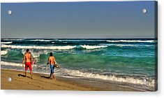 Acrylic Print featuring the photograph Surfers by Julis Simo