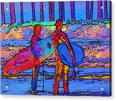 Acrylic Print featuring the photograph Surfers by Kathy Churchman