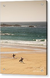 Surfers On Beach 01 Acrylic Print by Pixel Chimp