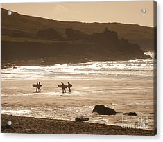 Surfers On Beach 02 Acrylic Print by Pixel Chimp