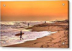Acrylic Print featuring the digital art Surfers' Sundown by Julis Simo