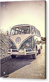 Acrylic Print featuring the photograph Surfer's Vintage Vw Samba Bus At The Beach by Edward Fielding
