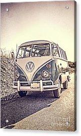 Surfer's Vintage Vw Samba Bus At The Beach Acrylic Print