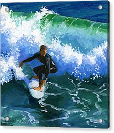 Surfin' Huntington Beach Pier Acrylic Print by Alice Leggett