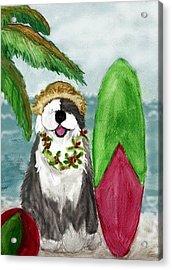 Surfin' Santa Acrylic Print