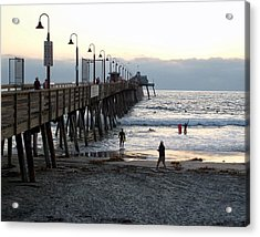 Acrylic Print featuring the photograph Surfing At Dusk by Philomena Zito
