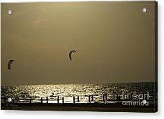 Surfing At Sunset 02 Acrylic Print by Arik Baltinester