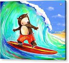 Surfing Bear Acrylic Print by Scott Nelson